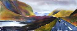 painting of bicycle_race_glen_coe