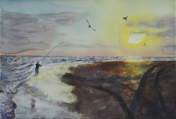 painting of Fishing At The Rivermouth (Manawatu Estuary)