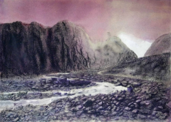 painting of bend_in_the_fox_glacier_outflow