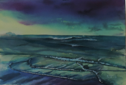 painting of foxton_beach_low_water_iii