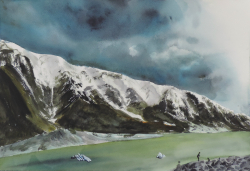 painting of icebergs_in_hooker_lake