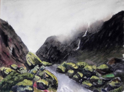 painting of the_path_to_franz_josef_glacier